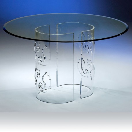 esprit baroque plexiglass table repas baroca ronde. Black Bedroom Furniture Sets. Home Design Ideas