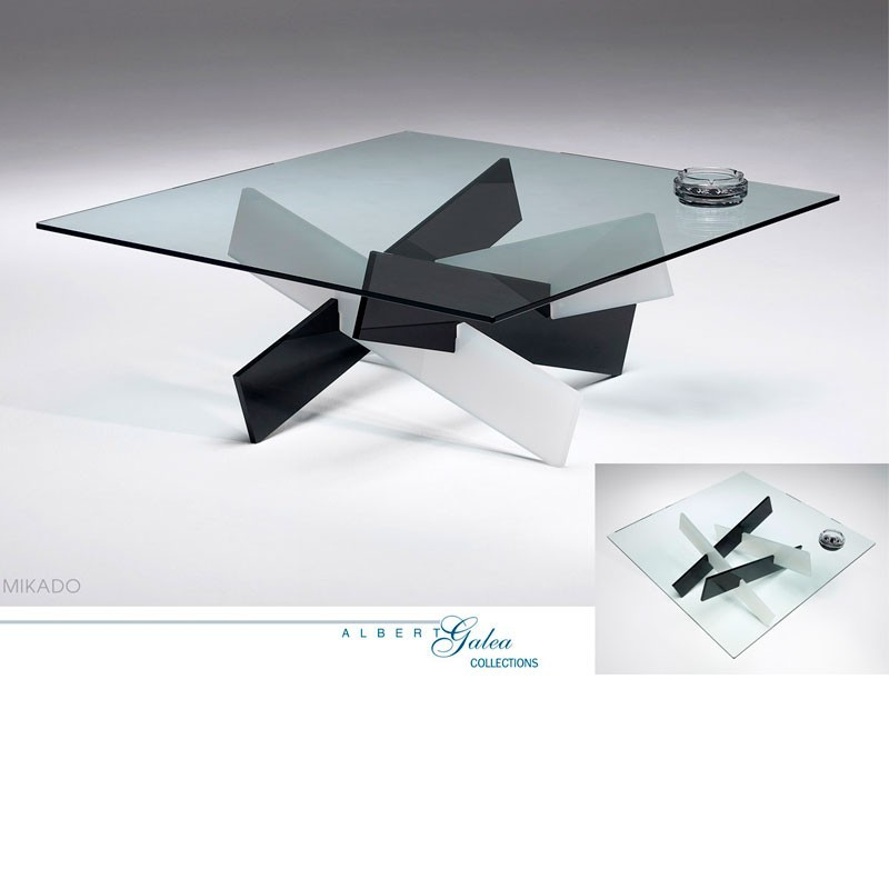 Tables basses plexiglass table basse mikado carr e incolore for Meuble tv mikado