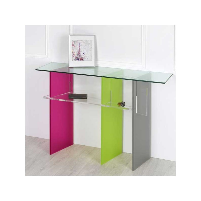meubles plexiglass console trio satin design by olivier toulouse. Black Bedroom Furniture Sets. Home Design Ideas