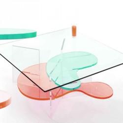 Coffee table POLKA sanded design by Marc-Antoine Florin