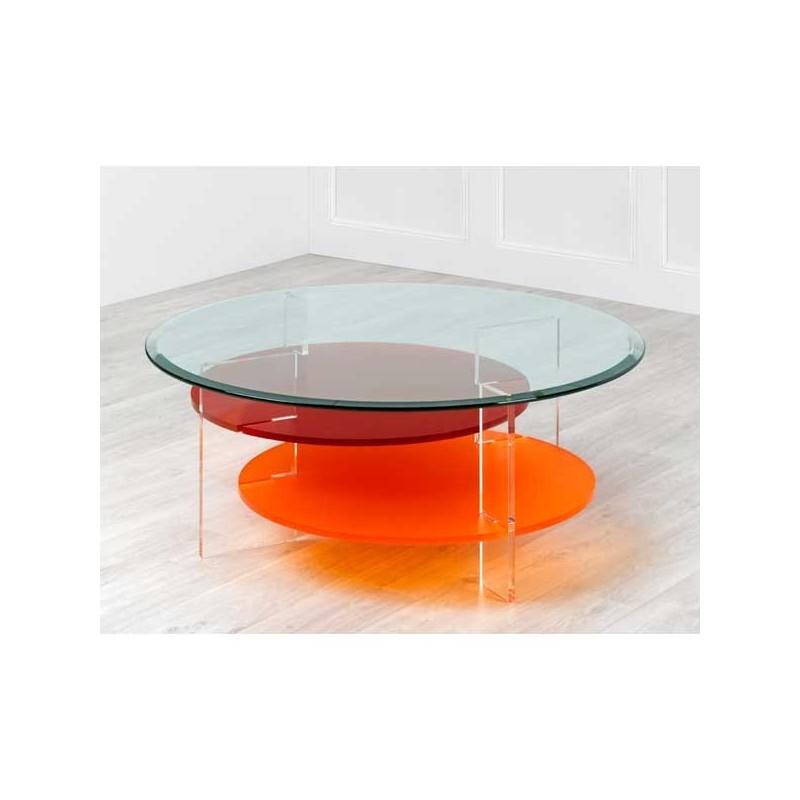 Coffee tables plexi  Coffee table MIKADO square colored -> Table Basse Transparente Courbee
