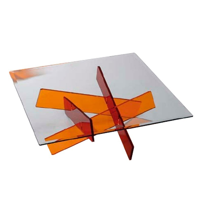 Tables basses plexiglass table basse mikado carr e fluo for Meuble tv mikado