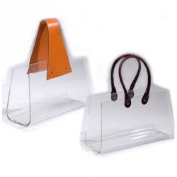 Magazine rack BOLSA thin brown handles