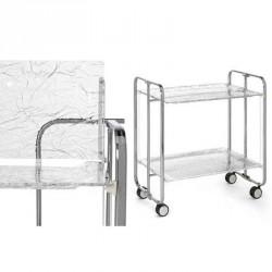 Table roulante et pliante 2 plateaux métal chromé