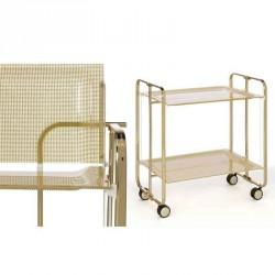 Table roulante et pliante 2 plateaux métal